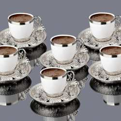 Silver Color Cream Porcelain Luxury Coffee Set