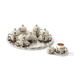 Silver Color Pearl Coated Coffee Cup Set With Tray