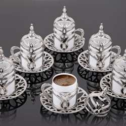 Silver Color Turkish Coffee Cups Tulip Design For Six Person