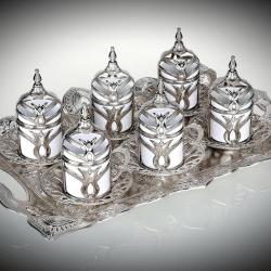 Tulip Design Silver Color Coffee Set With Tray