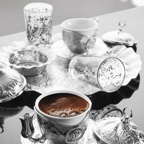 Silver Color Tiryaki Turkish Coffee Set For Two Person With Glasses
