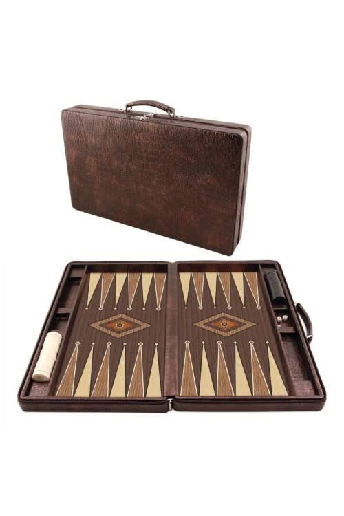 Leather Bag Portable Backgammon Set