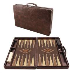 Leather Bag Portable Backgammon Set
