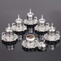 Silver Color Coffee Cups Tulip Design Six Person