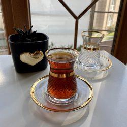 12 Pcs Irem Gold Color Turkish Tea Set