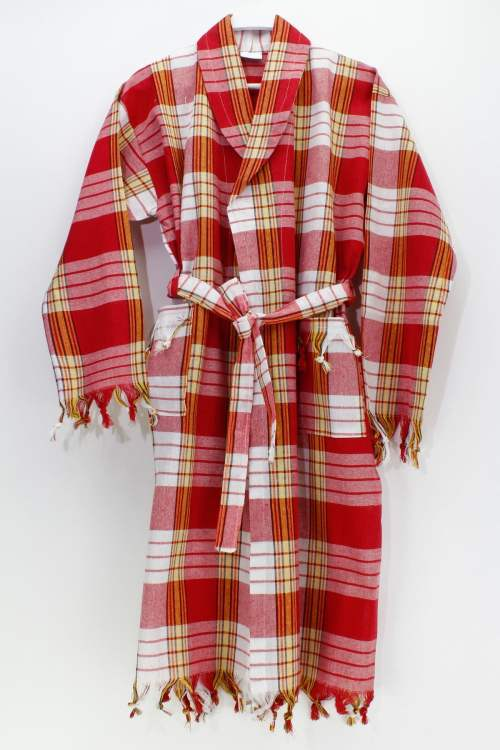 Classic Red Color Peshtemal Bathrobe