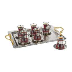 Silver Color Arabic Tea Set For Six With Tray