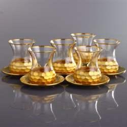 Gold Color Honeycomb Patterned Turkish Tea Glass Set