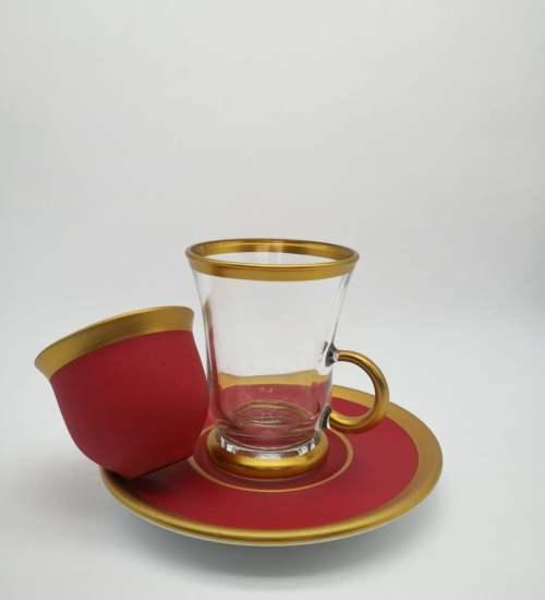 Pasabahce 18 Pcs Red Color Tea Set