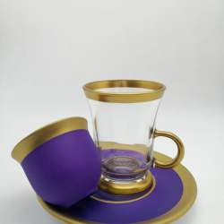 Pasabahce 18 Pcs Purple Color Tea Set