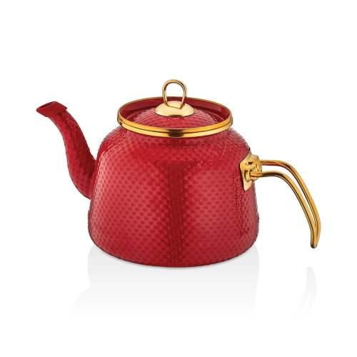 Glaze Red Enamel Turkish Tea Pot Kettle