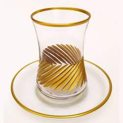 Gold Gilded Line Pattern Turkish Tea Set
