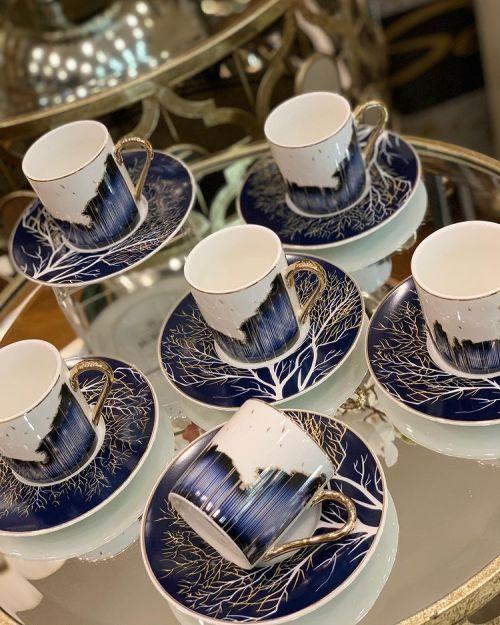 12 Pcs Emirgan Porcelain Turkish Coffee Set