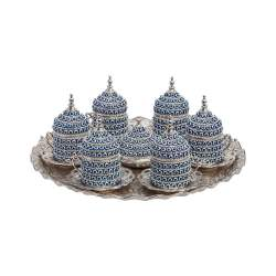 Silver Color Evil Eye Coated Coffee Cup Set With Tray