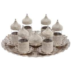 Swarovski Stone Coated Unique Silver Tea Glasses Set