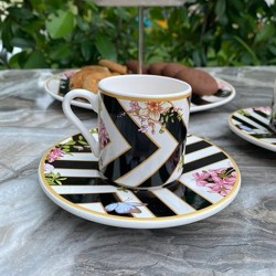 Bougainvillea Patterned Turkish Coffee Set