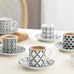 12 Pcs Rio Porcelain Turkish Coffee Set