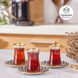 12 Pcs Karaca Sunflower Crystal Luxury Tea Set