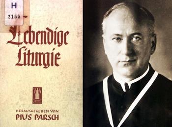 El padre Parsch con su librito de liturgia viviente