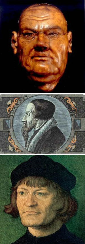 Herejes Lutero, Calvino y Zwinglio