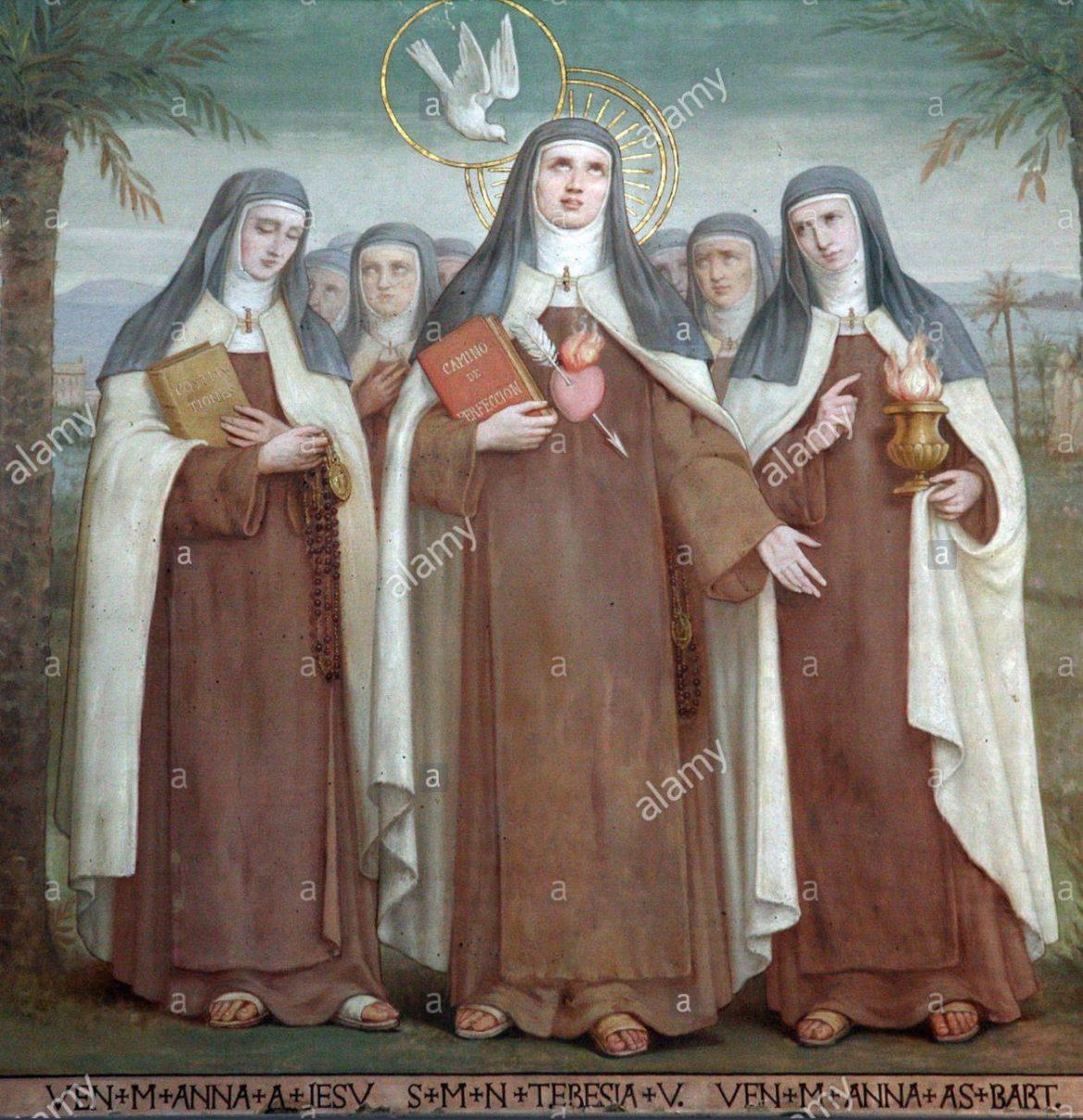 bl-anna-maria-von-jesus-die-heilige-teresa-von-avila-und-bl-anne-des-hl-bartholomaus-karmeliten-heiligen-kirche-stella-maris-haifa-israel-cc3f3p