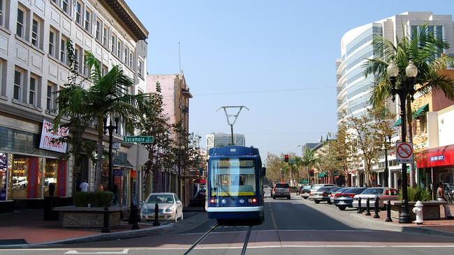 An artist's rendering of a proposed four-mile streetcar line from the Santa Ana Regional Transportation Center to a new center at Westminster Avenue and Harbor Boulevard in Garden Grove. (City of Santa Ana)