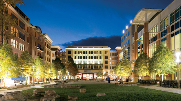 New transit-oriented, mixed-use walkable downtowns, like this one in Rockville, Md., are often replacing indoor shopping malls and strip malls that once defined suburban America. (Courtesy of WDG Architecture)