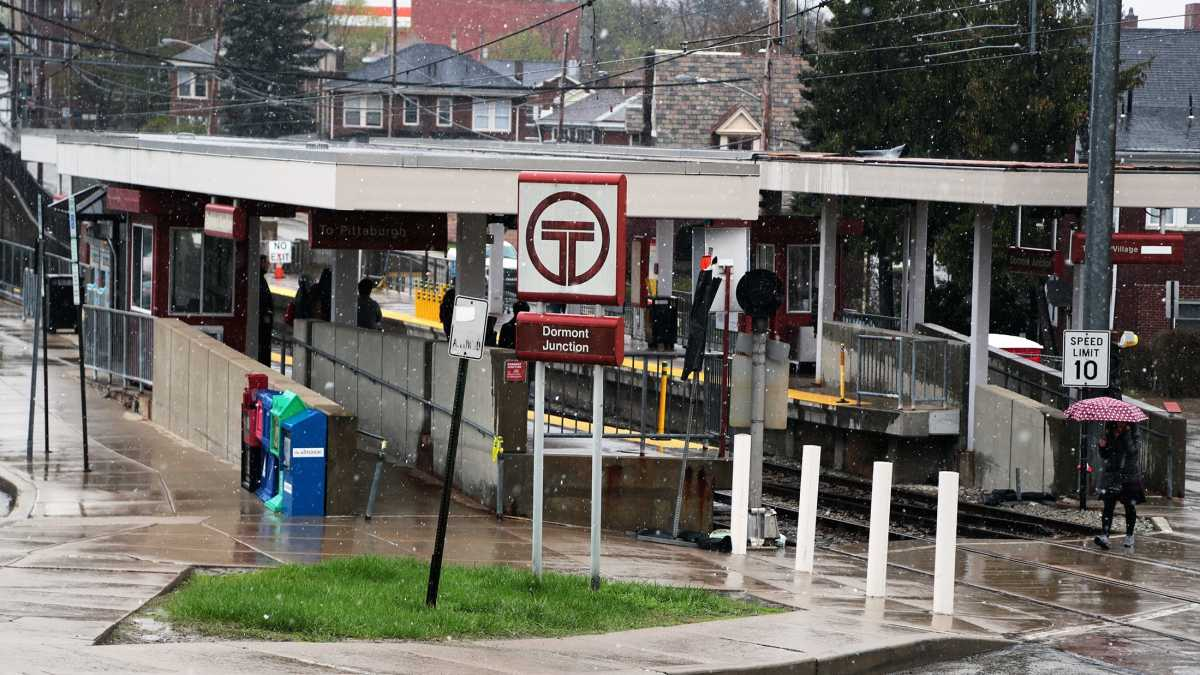 One Transit Revitalization Investment District, located around a light rail station in the Pittsburgh suburb of Dormont, has made it from planning to implementation. (Ryan Loew/WESA)