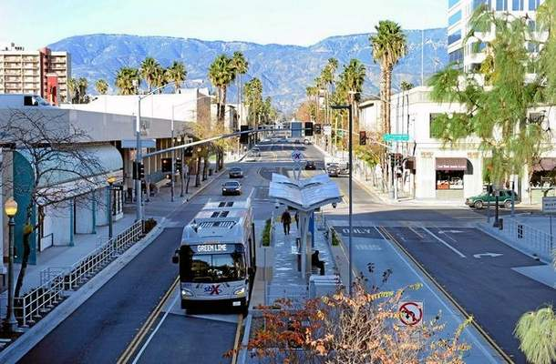 A view of northbound E Street on Tuesday, December 23, 2014 after the sbX bus system was installed in San Bernardino. Micah Escamilla — Staff photographer