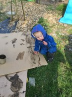Mud painting and writing