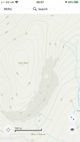 OS map of Carn Sian