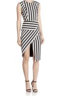 MASON BY MICHELLE MASON - Stripped Asymmetrical Dress
