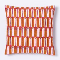 Hand-blocked silk zip stripe pillow