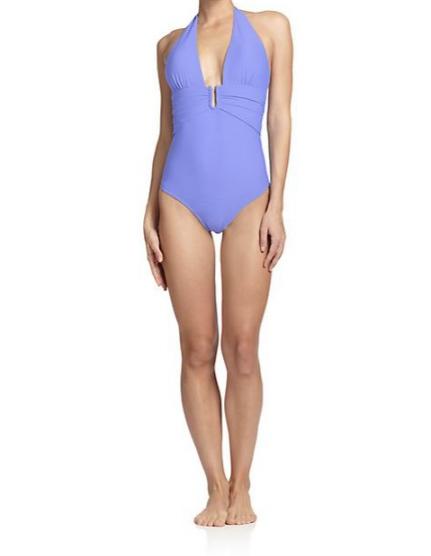 HEIDI KLEIN One-Piece Textured Halter Swimsuit