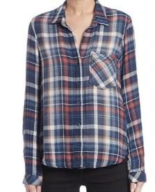 Bella Dahl Plaid Buttom-Front Shirt