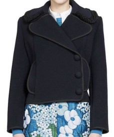 Carven Manteau Faux Fur-Trim Wool Coat