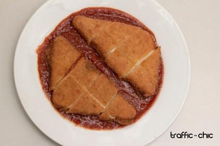 Mozarella frita en Salsa de Toamte