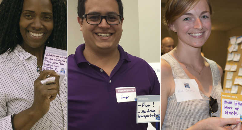 Three community members each hold sticky notes with their goals for the Houston Bike Plan