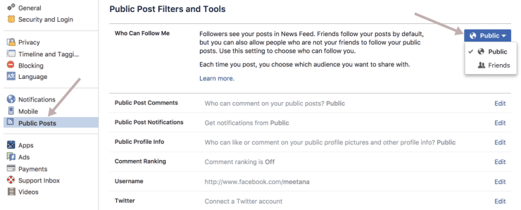How to enable Follow on Facebook