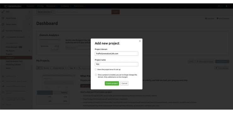 Enter info to add your domain as SEMrush Project