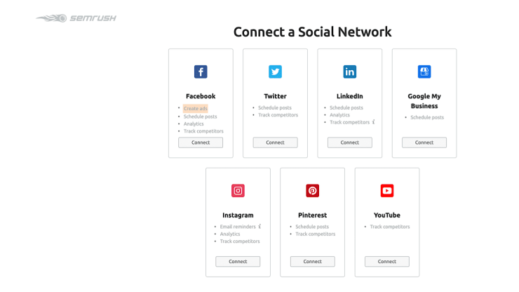 Connect social media networks to SEMrush Social Media Tracker