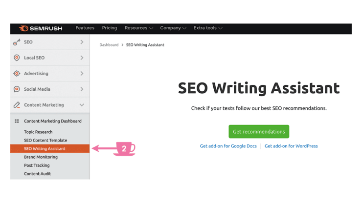 SEO Writing Assistant tab in the navigation sidebar