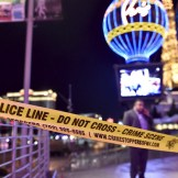 Las Vegas police investigate following a traffic accident in front of the Planet Hollywood Hotel in Las Vegas, Nevada, near the hotel and casino where the Miss Universe pageant was being held, December 20, 2015. REUTERS/David Becker