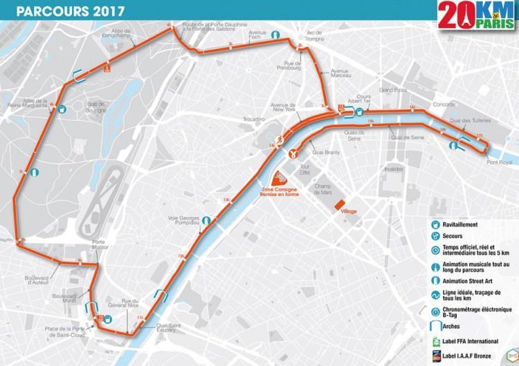 Nouveau Parcours du 20km de Paris