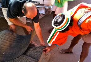 Tarahumara sizing up material for sandles