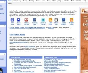 LogYourRun.com main site page
