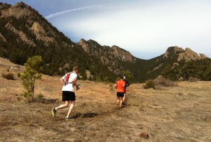 Runners on the Mesa Trail in Boulder Colorado