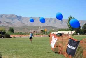 Balloons at the finish line of the Red Mountain 50K