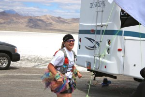 Lynette McDougal Finishing the Salt Flats 100