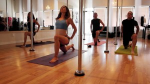 Picture of Lara Robinson warming up before Pole Dancing